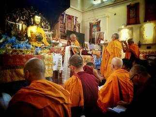 Ven. Barbara Shannon presenting Guru Offering to Lama Zopa Rinpoche at Jamyang London