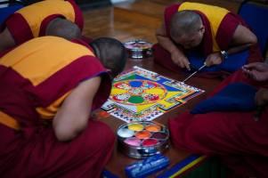 Sand Mandala bring created at Jamyang London by the Tashi Lhunpo monks