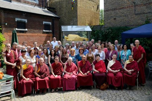 Sangha in Jamyang London court yard