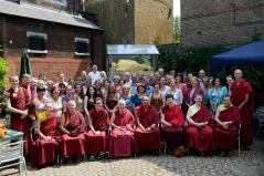Sangha members in Jamyang London Court Yard Cafe